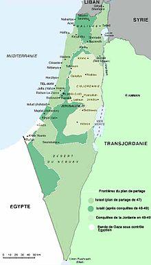 Territori riconosciuti a Israele dall'ONU e conquiste del 48-49
