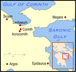 A map which depicts the area around the Gulf of Corinth. The area to north consists of highlands and the Gulf of Corinth, while the area to the south shows the cities of the area.