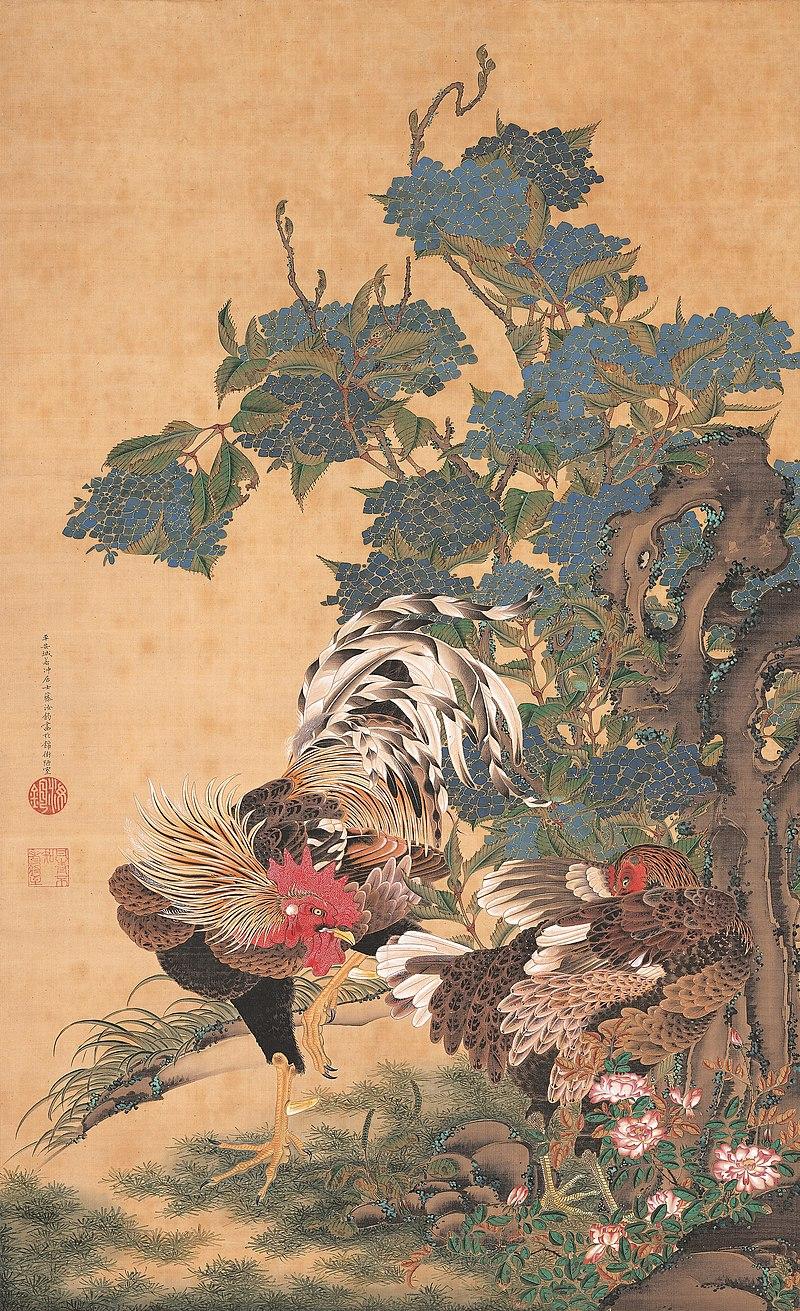 https://upload.wikimedia.org/wikipedia/commons/thumb/e/ed/Ito_Jakuchu_AjisaiSoukei-zu.jpg/800px-Ito_Jakuchu_AjisaiSoukei-zu.jpg