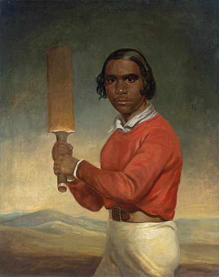 "This portrait of a young Indigenous boy was commissioned by a member of a Christian mission station to show the achievements of the mission at ""civilising"" the Indigenous population. JM Crossland - Portrait of Nannultera, a young Poonindie cricketer.jpg"