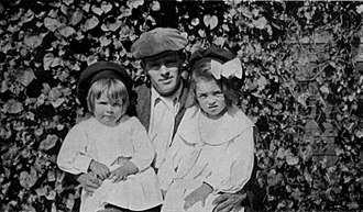 Jack with daughters Becky (left) and Joan (right) Jack London with daughters Bess (left) and Joan (right).jpg