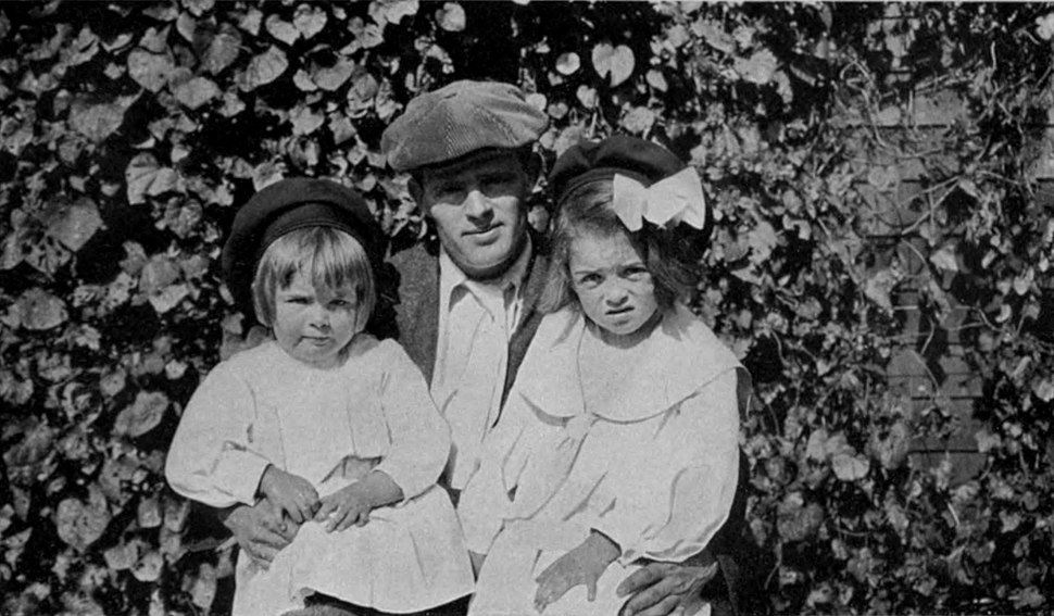 Jack London with daughters Bess (left) and Joan (right)
