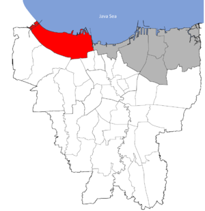 Penjaringan - Location of Penjaringan in Jakarta.