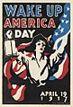 James Montgomery Flagg (1870-1960) poster celebrating Wake Up America Day on April 19, 1917 with Jean Earle Mohle dressed as Paul Revere.jpg