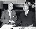James W. Austin, president of Northeast Airlines, and Mayor John F. Collins (10949789416).jpg