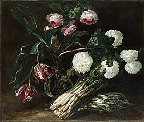 Vase of Flowers and two Bunch of Asparagus
