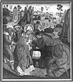 Jan Polack - Weihenstephaner Altar, Der hl. Korbinian und der Bär Rückseite, Kreuztragung Christi - 1400 - Bavarian State Painting Collections.jpg