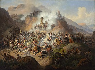 Army of the Duchy of Warsaw - Charge of Polish Light Horse of the Imperial Guard at Battle of Somosierra, 1808.  A 1860 painting by January Suchodolski.