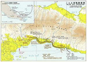 A map of Milne Bay, which is surrounded by land on three sides. Sites are on the north side. Clockwise, they are: Strip No. 1, Strip No. 2, Gili Gili, Strip No. 3, Rabi, KB Mission, Waga Waga and Abloma.