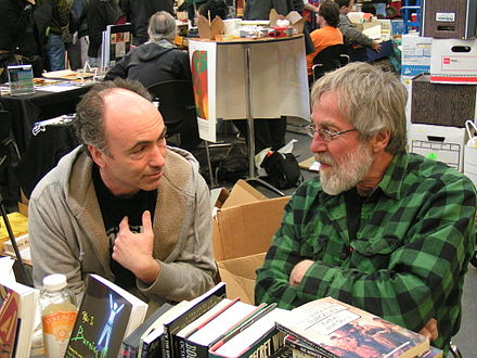 Lawrence Jarach (left) and John Zerzan (right), two prominent contemporary anarchist authors: Zerzan is known as prominent voice within anarcho-primitivism while Jarach is a noted advocate of post-left anarchy Jarach and Zerzan.JPG