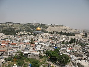 Jerusalem Skyline w- Dome of the Rock (Lutheran) 1992 (511059532).jpg