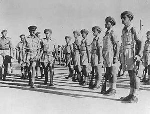 Jewish Brigade - Brigadier Ernest Benjamin, commander of the Jewish Brigade, inspects the 2nd Battalion in Palestine, October 1944.