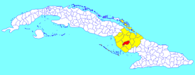 Jimaguayú municipality (red) within  Camagüey Province (yellow) and Cuba