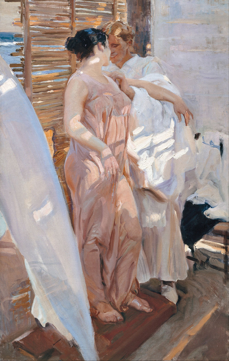 Joaquín Sorolla y Bastida - The Pink Robe. After the Bath - Google Art Project.jpg