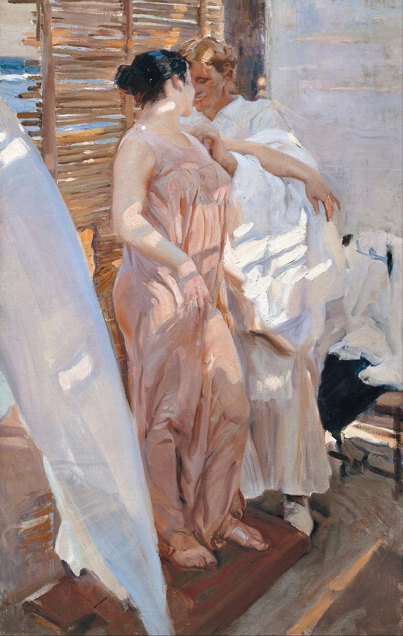 Joaquín Sorolla y Bastida - The Pink Robe. After the Bath - Google Art Project.jpg