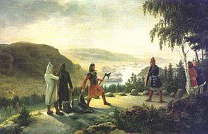 Holmgang - Egill Skallagrímsson engaging in holmgang with Berg-Önundr, painting by Johannes Flintoe
