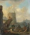 Johannes Lingelbach - Italiaanse haven met vestingtoren.jpg