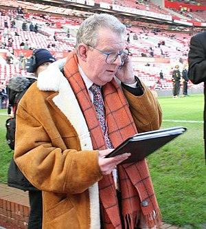 John Motson - John Motson pictured preparing for the Manchester derby at Old Trafford on 10 February 2008.