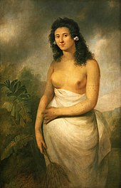 Dark-haired female figure facing half left, breasts exposed, wearing a white garment on her lower body.