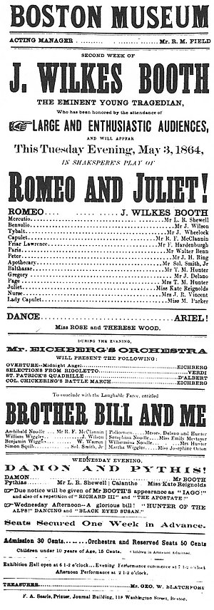Boston Museum (theatre) - Image: John Wilkes Booth playbill in Boston