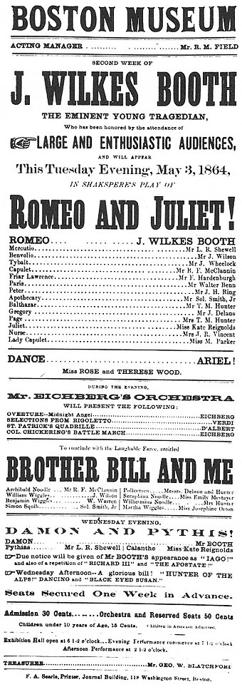Boston Museum playbill advertising Booth in Romeo and Juliet, May 3, 1864 John Wilkes Booth playbill in Boston.jpg