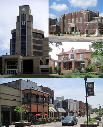 Jonesboro, Arkansas - Clockwise from top: Craighead County Courthouse, house in the West Washington Avenue Historic District, downtown Jonesboro, and Arkansas State University's Dean B. Ellis Library