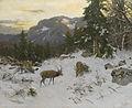 Josef Schmitzberger Hirsche im winterlichen Gebirge ca1900.jpg