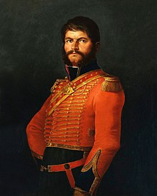 A soldier in a 19th-century military uniform.