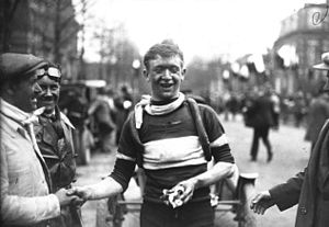 1926 Paris–Roubaix - Race winner Julien Delbecque at the finish line