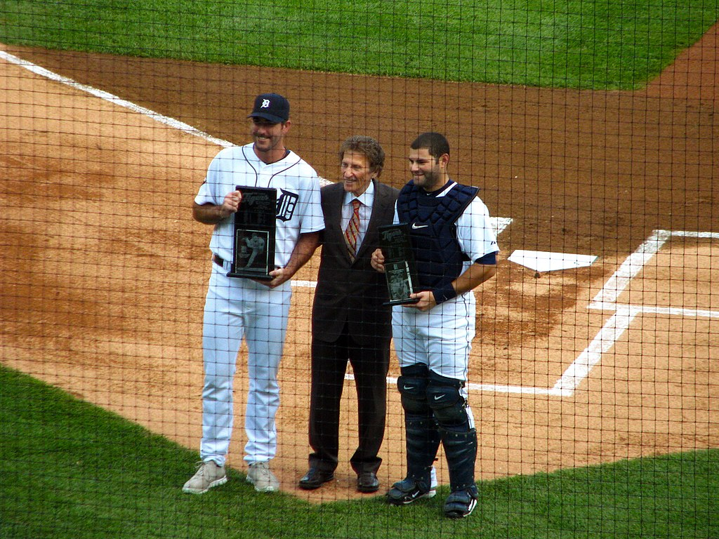 Justin Verlander, Mike Ilitch and Alex Avila