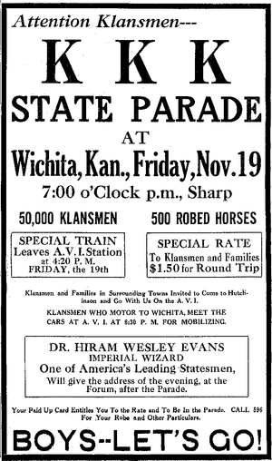 Hiram Wesley Evans - Image: KKK advertisement Wichita, KA