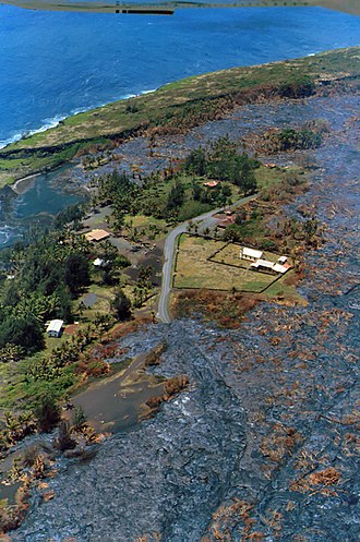 Kalapana, Hawaii - Kalapana buried by lava flow -   May 24, 1990