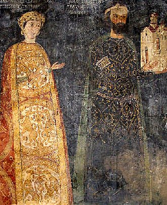 Painting of the Tarnovo Artistic School - The ktitors of the Boyana Church sevastokrator Kaloyan and his wife Desislava.