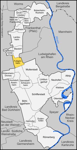 Fußgönheim - Image: Karte Fußgönheim