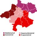 Karte Oberoesterreich Viertel mit Legende.png