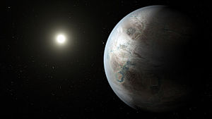 Kepler-452b - Artist's concept of a rocky Earth-sized exoplanet in the habitable zone of its host star, possibly compatible with Kepler-452b's known data