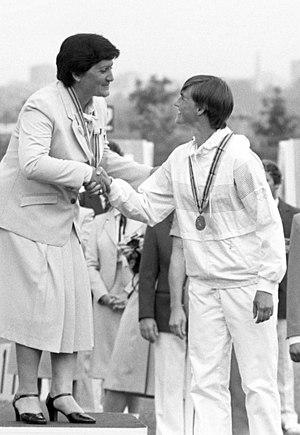 Päivi Meriluoto - Meriluoto (right) at the 1980 Olympics