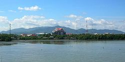 The Khao Khiao Massif rising east of Chonburi