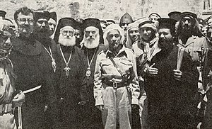 Abdullah I of Jordan - King Abdullah outside the Church of the Holy Sepulchre, Jerusalem, 29 May 1948