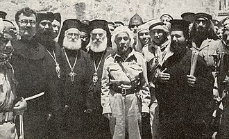 1948 Arab–Israeli War - King Abdullah outside the Church of the Holy Sepulchre, 29 May 1948, the day after Jordanian forces took control of the Old City in the Battle for Jerusalem