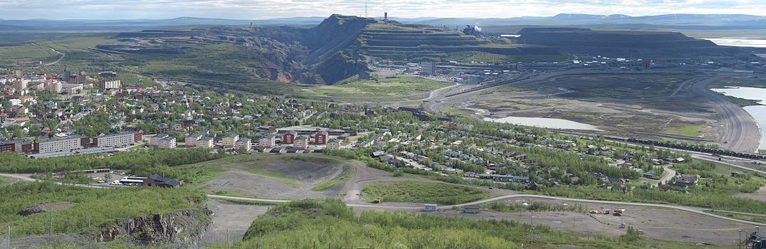Panoramic view of Kiruna and the iron ore mine.