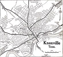 History of Knoxville, Tennessee - Wikipedia on hot springs tennessee map, city tennessee map, marion tennessee map, knox county tn road map, bellevue tennessee map, helenwood tennessee map, mosheim tennessee map, little pigeon river tennessee map, pigeon forge tennessee map, blountville tennessee map, hardin valley tennessee map, oklahoma tennessee map, nashville tennessee map, birmingham alabama map, tennessee smoky mountains map, paducah tennessee map, memphis tennessee map, knoxville tn, whites creek tennessee map, canton tennessee map,