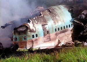 Korean Air Flight 801 - Wreckage of HL7468 burns at the Sasa Valley crash site.