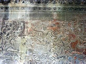 Vanga Kingdom - Scenes from the Kurukshetra War of the Mahabharata shown in Angkor Wat, Cambodia