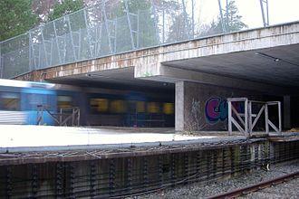 Kymlinge - The open-sky part of Kymlinge metro station.
