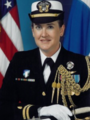 LT Patricia C. Hasen, Nurse Corps, US Navy is the first First Navy Nurse Corps Officer to be formally appointed as an executive assistant to a flag rank unrestricted line officer.png