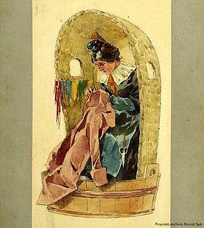 Adolf Hohenstein, bozzetto del costume di una rappezzatrice per la prima rappresentazione della Bohème (Archivio Casa Ricordi)
