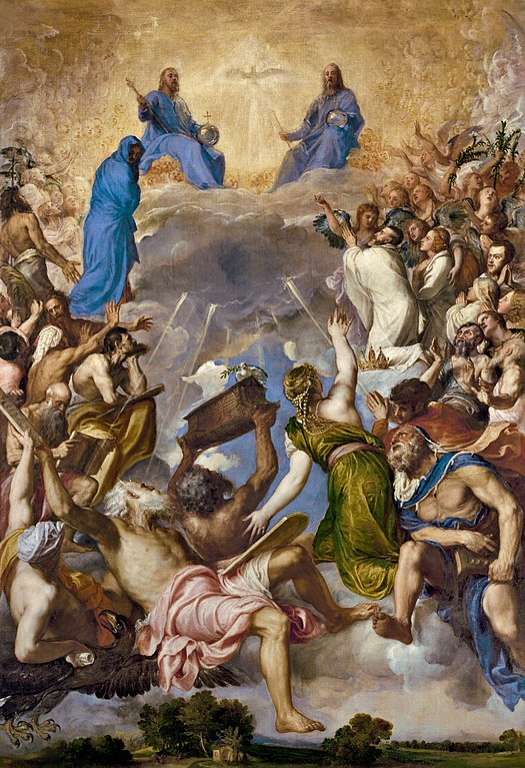La Gloria de Tiziano, donde Carlos I rey de España abandona sus riquezas para entrar en el cielo.