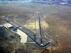 La Junta Municipal Airport - La Junta Municipal Airport in April 2008 as seen from an altitude of 9500ft MSL
