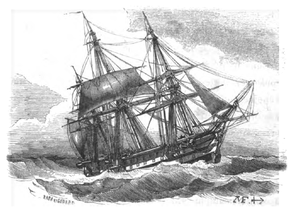 Heaving to - An ''Océan'' class ship of the line heaving to. Drawing by Antoine Morel-Fatio.